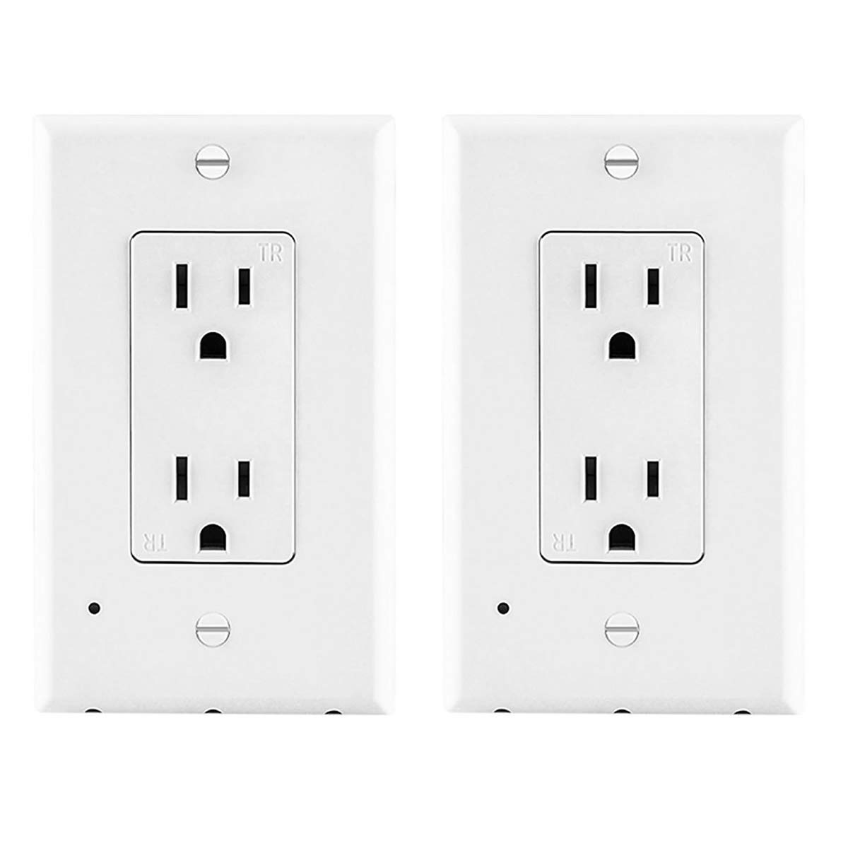Outlet Wall Plate with LED Night Lights AriesTech Guidelight Outlet Cover Flame Resistant Materials Auto ON/OFF No Batteries No Wires Fits for Decor White 2 Pack