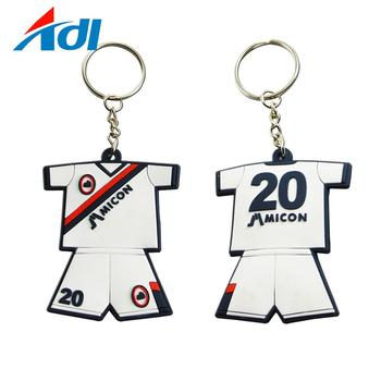 cheap custom fashion rubber pvc football team uniform key chain with keyring