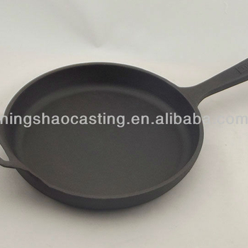 cast iron preseasoned fry pan with support handle