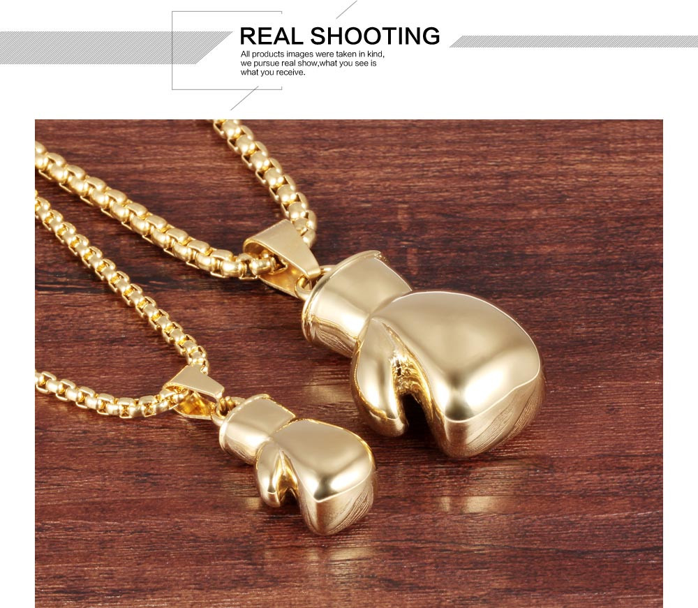 New Design Men Women Stainless Steel Gold Plated Boxing Glove Necklace