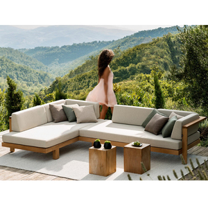 luxury modern Teak L shape sectional outdoor sofa set all weather garden furniture