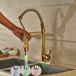 Lead Free Brass Two Rotate Spout Gold Spring Pull Out Spray Single Handle Kitchen Faucet