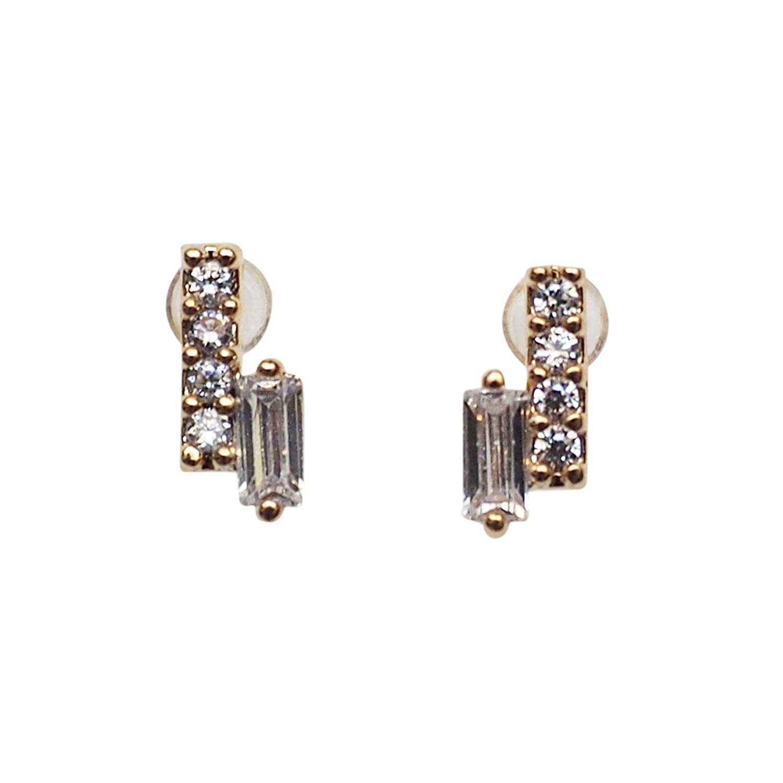 Miyabi Grace Women's Comfortable Minimalist Bar Simple Cubic Zirconia Crystal Invisible Clip On Stud Earrings Gold tone