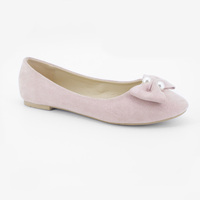 women pink wedding ballerina flats shoes with pearl bow