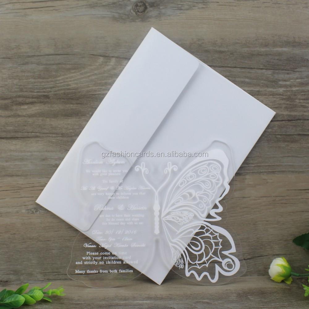 2017 Latest White Foling Butterfly Acrylic Wedding Invitations ...