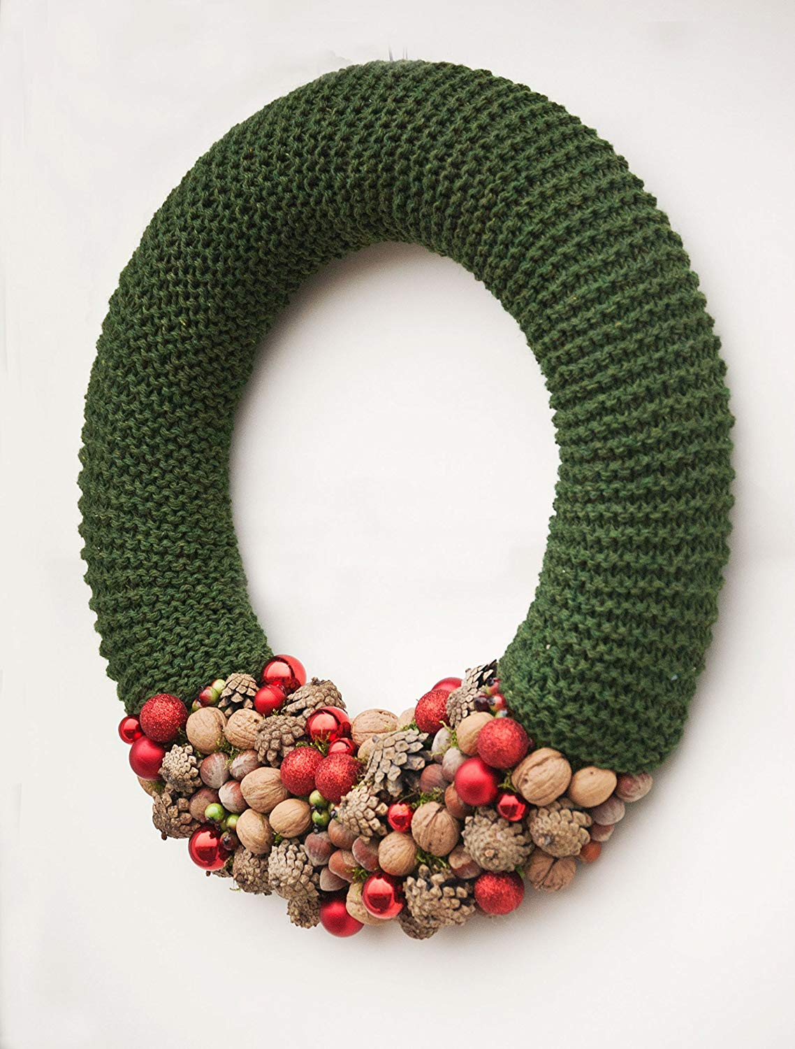 Rustic Christmas wreath, green with red baubles and nuts