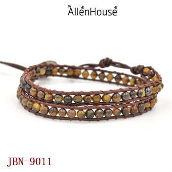 Leather Wrap 4mm Tiger Eye Yoga Boho Beaded Gemstones Bracelets With Custom Name Metal On For