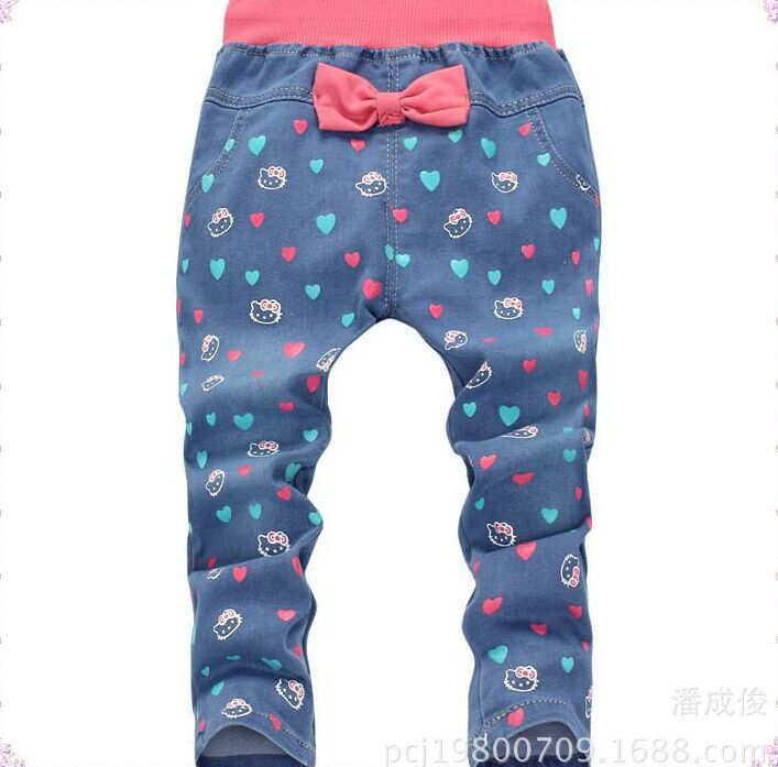c56d7ec36 Get Quotations · Spring Autumn Hello kitty cartoon 2-6 year old Children  girls jeans Full length pants