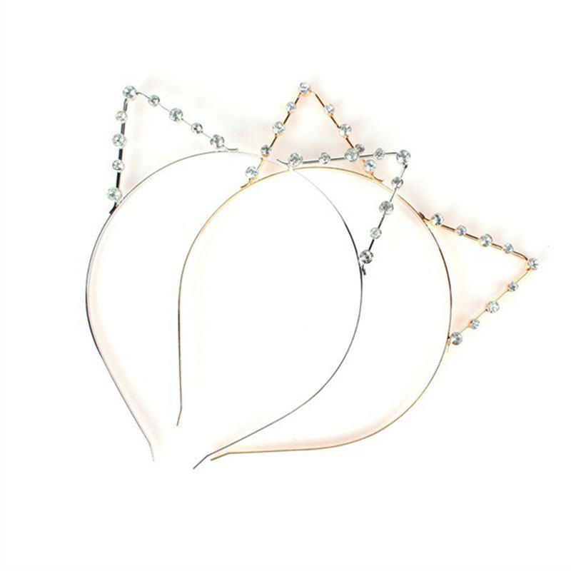 Korean style golden silver animal alloy pearl rhinestone daily lady cat ear <strong>headband</strong>