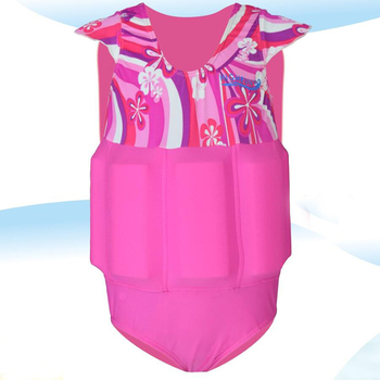 Girls Beautiful Fashion One-piece Swimsuits Floatation Suits with Detachable Buoyancy