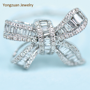 Fashion Show Party Accessories Wholesale Custom Natural Ladder Diamonds And Round Diamonds Total 1 Carat Butterfly Shape Rings