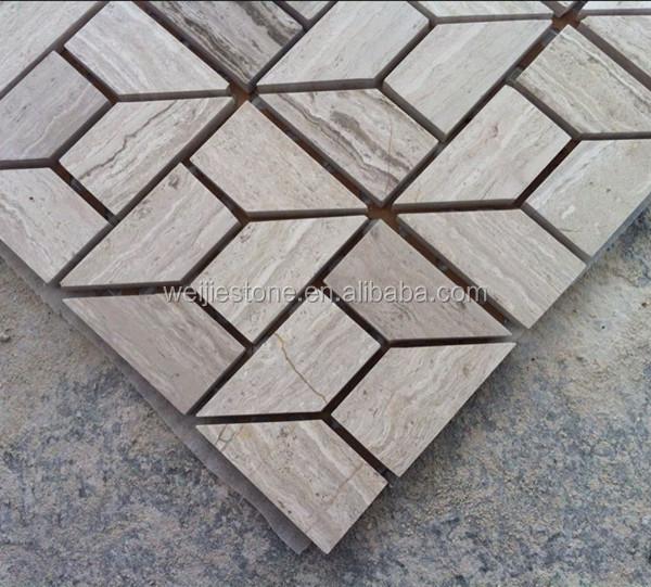 Gris blanco piedra m rmol mosaico trapecio azulejo para for Suelo marmol blanco