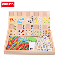 Zhorya puzzle board math early learning magnetic wooden blocks for kids