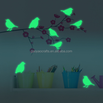 Cartoon Birds Decor Home Moon Glow In The Dark Wall Sticker Wallpaper For  Kids Bedroom Living