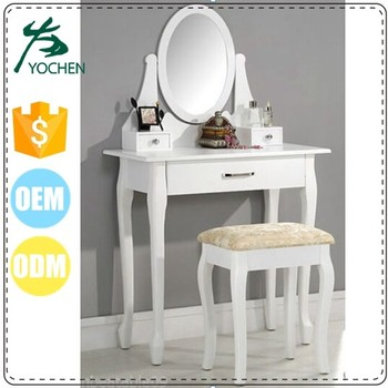 Madera Vanidad Blanco Set Tabla W/espejo Oval 3 Cajones Tan Heces ...