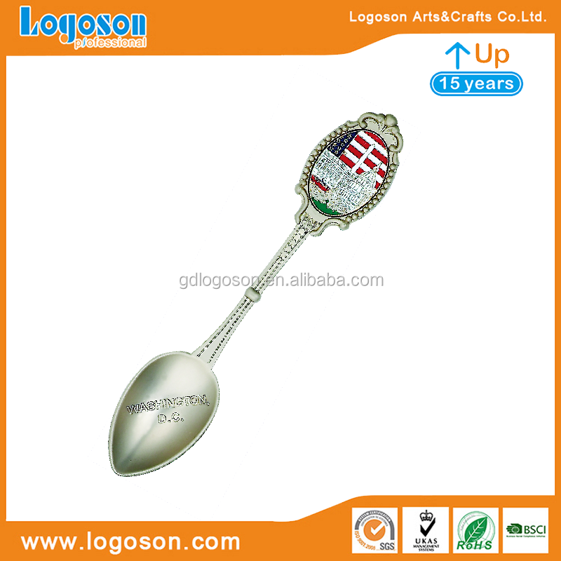 Washiton D.C Souvenirs Custom Metal Souvenir Spoon White House Enamel Metal Spoon