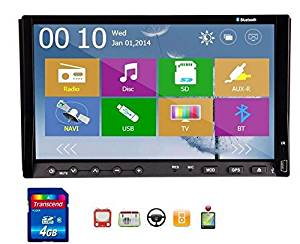 Christmas Sale!!! Transmitter 2014 New Win 8 Monitor UI Design Pupug 7 Inch Double LCD DIN In Dash Touchscreen LCD Monitor Accessory with DVD CD MP3 MP4 Deck USB SD AMFM RDS Bluetooth and Ster