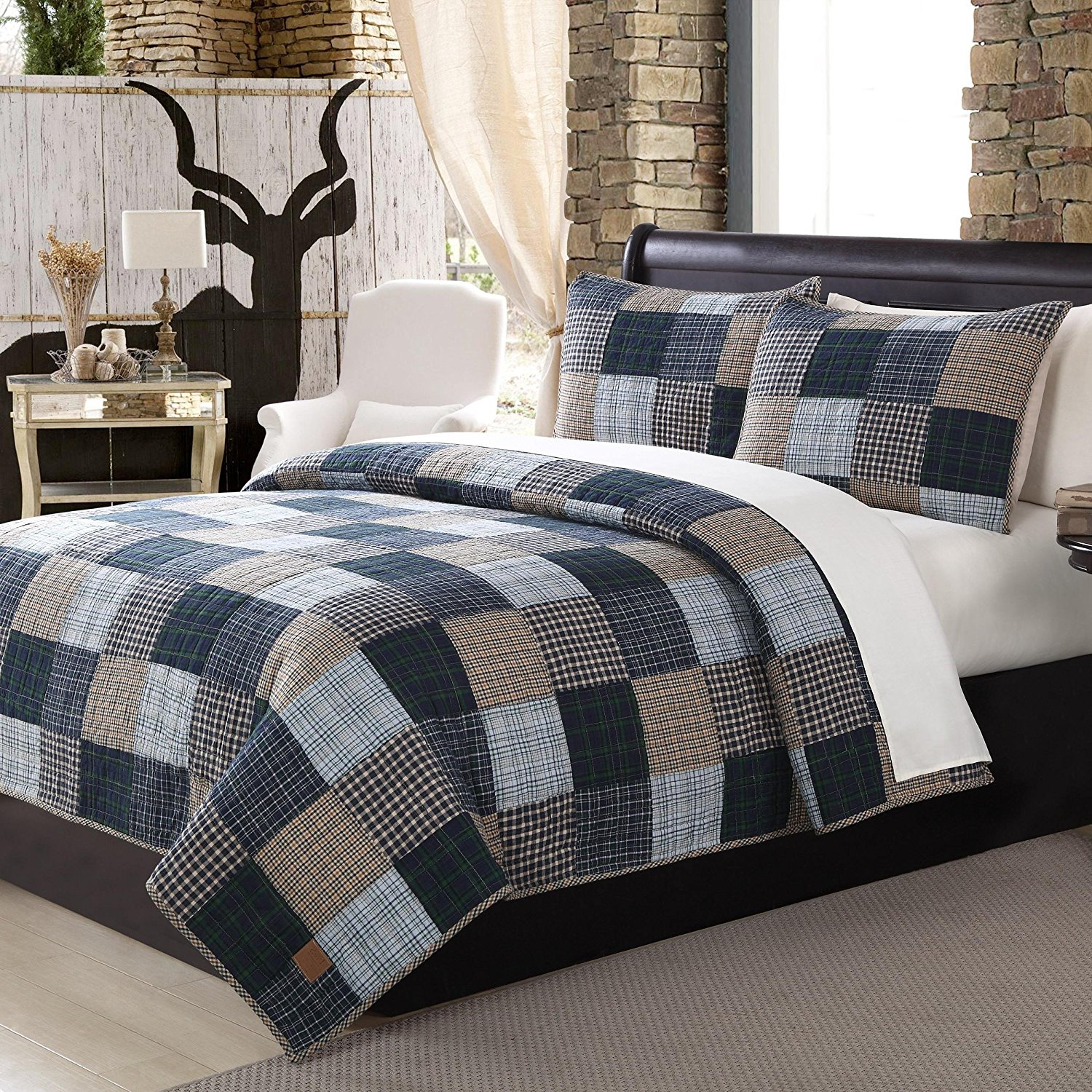 OTS 3 Piece Blue Patchwork King Size Quilt Set, Rustic Square White Pin Stripes Bedding, Gray Black Tartan Checkered Stripe Patch Work, Log Cabin Cottage Grey, Cotton, Polyester