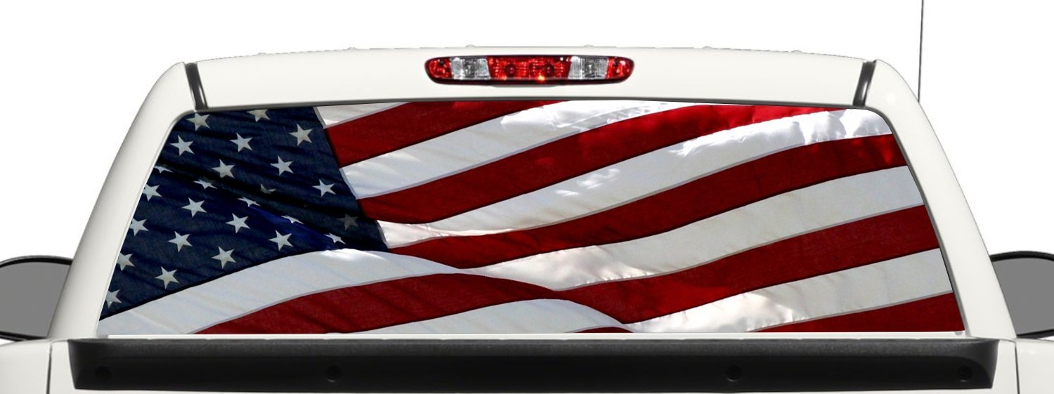 Get quotations · truck suv american flag rear window graphic decal perforated vinyl wrap 18x58