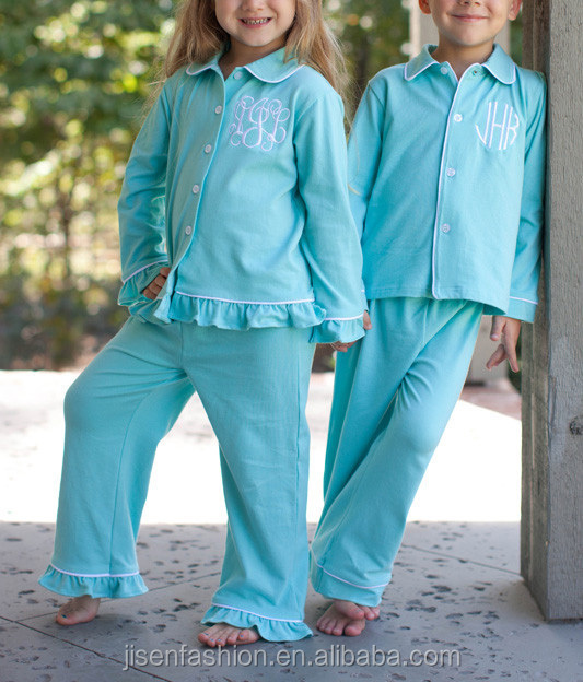 turquoise button down loungewear girl christmas pajamas
