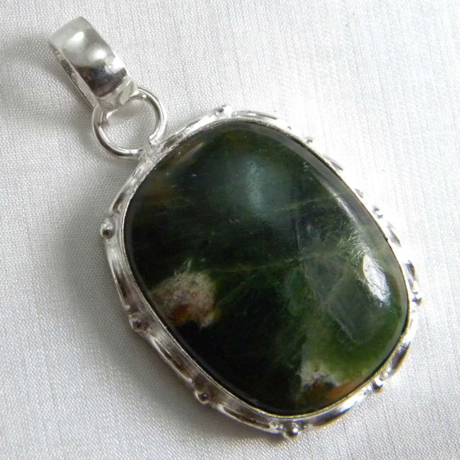 Rain Forest Opal Pendant plated 925 Sterling Silver 15+ Gms 1.75 Inches