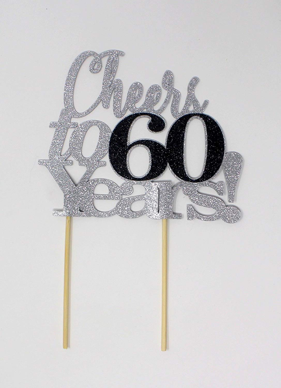 All About Details Cheers to 60 Years! Cake Topper,1pc, 60th Birthday, Anniversary, Party Decor, Glitter Topper (Silver & Black)