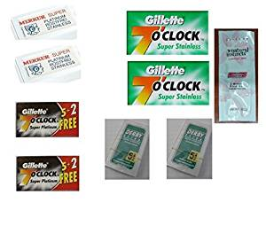 Merkur Double Edge Safety Razor Blades 10 ct. + 7 O'Clock Black Super Platinum Double Edge Blades, 7 ct. (Pack of 2) + 7 O'Clock Permasharp Green Double Edge Blades, 10 ct. (Pack of 2) + Derby Extra Double Edge Blades 5ct. (Pack of 2) w/ LovingColor FREE TRIAL CONDITIONER