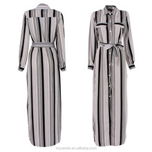 Black And White Striped Maxi Long front opening kimono dress women