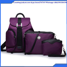 2016 New Fashion Purple Nylon Material Beautiful Girls Backpack and Shoulder Bag Set Factory Sale
