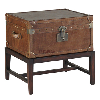 Highly durable home decoration vintage rectangle wooden base leather storage trunk with lock