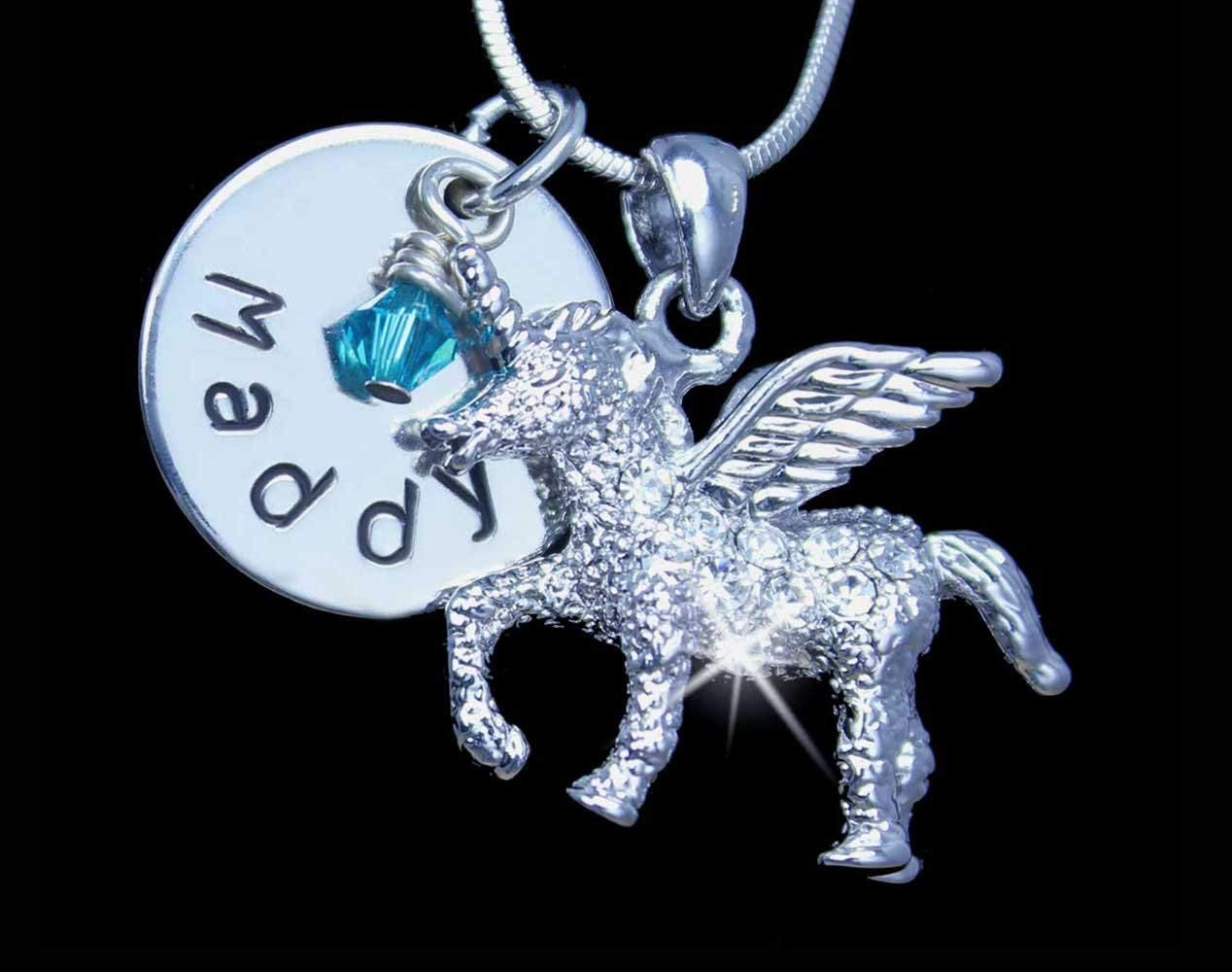 Personalized Crystal Unicorn Charm Necklace | Unicorn Charm Jewelry | Silver Unicorn Charm Necklace | Personalized Charm Jewelry | Personalized Unicorn Charm Pendant