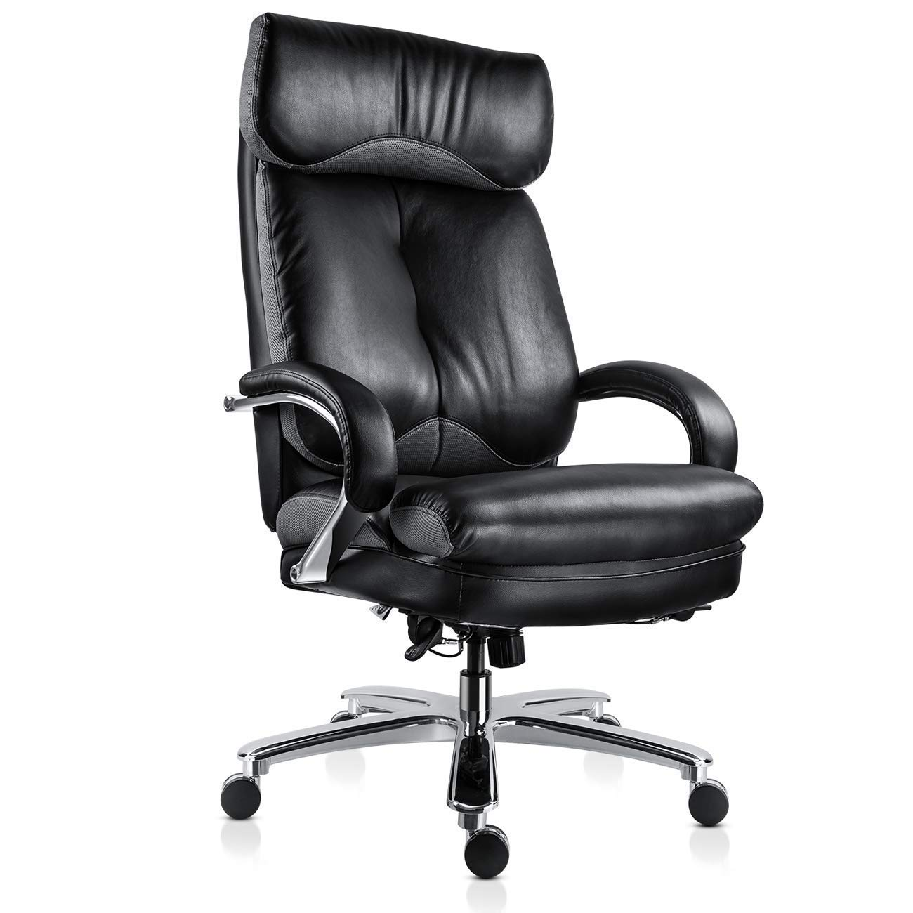 MDL Furniture Executive Office Chair Big and Tall 500lbs Ergonomic Home Office Chair Thick Padded Seat Heavy Duty Office Chair with Tilt Function, Black