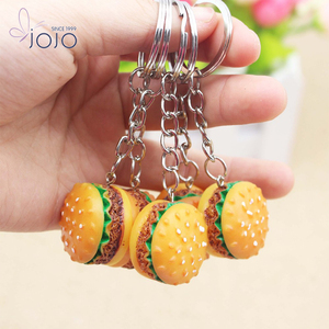 cheap custom key ring soft squishy marca dragon mini hamburger keychain