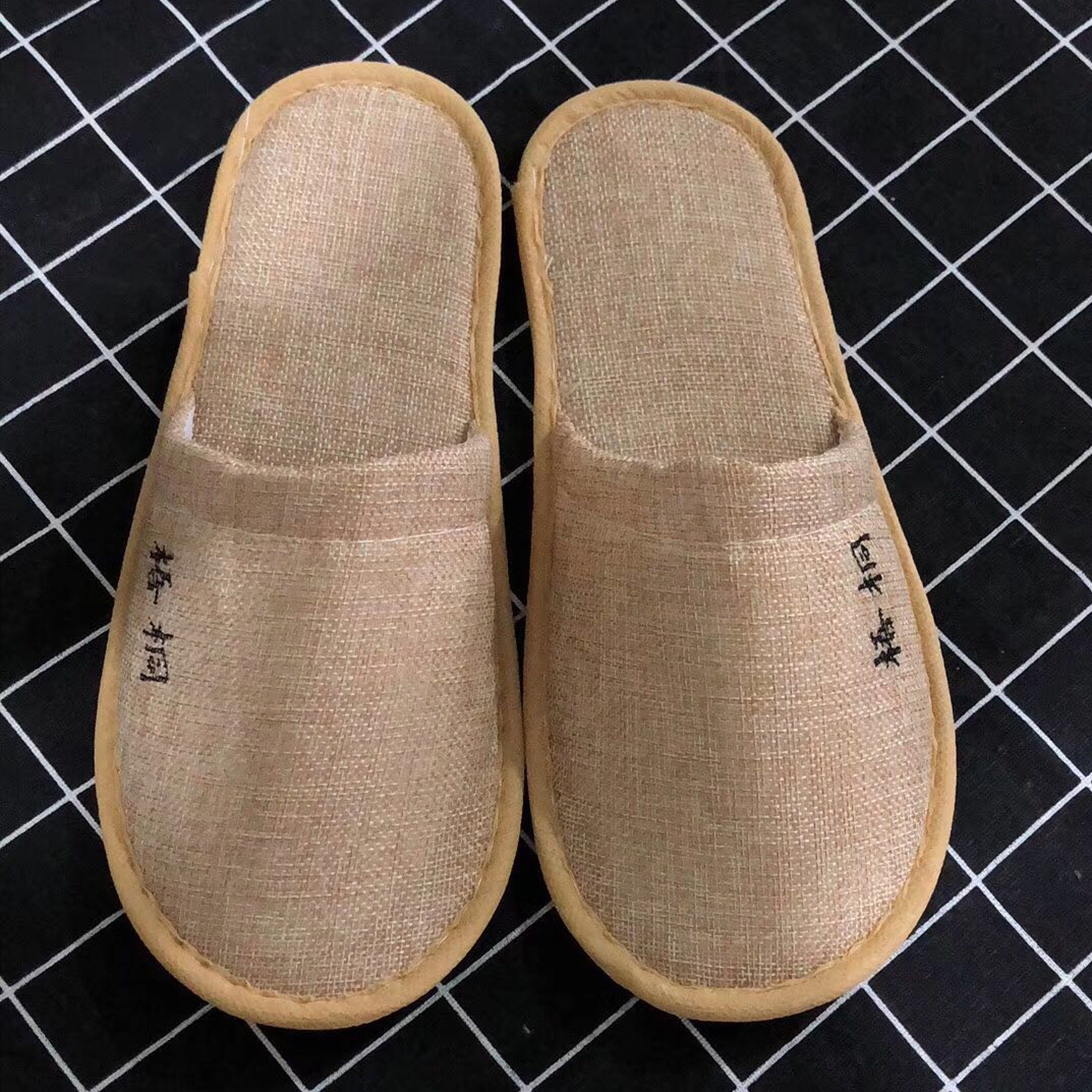 New design bamboo hotel slippers cotton-linen hotel slippers