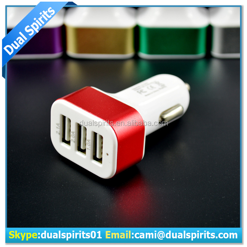 3 USB 2.1A Aluminum Panel Compact Designed Car Charger for iPhone iPad Samsung Galaxy Asus Huawei Android Smartphones Tablet