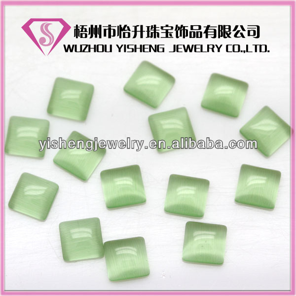AAA Quality 7*7mm cats eye square flat back cabochon setting