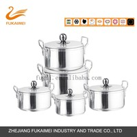 7 PCS Aluminum high gloss polished cast iron cooking pot with olive pearl