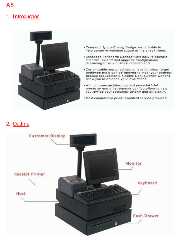 NT-A5 Linux POS terminal, Windows POS machine, 58mm thermal printer with POS 58mm paper roll