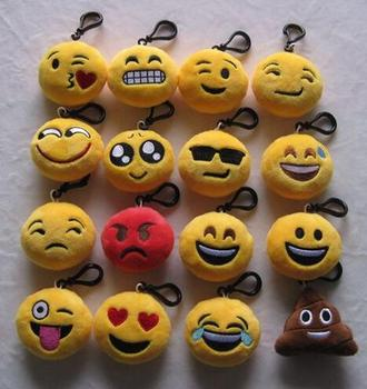 Hot Lovely Cute Soft Toy Keychain Charms Funny Emoji Emoticon Smile Face  Pendant Key Chain Bag dc3755895