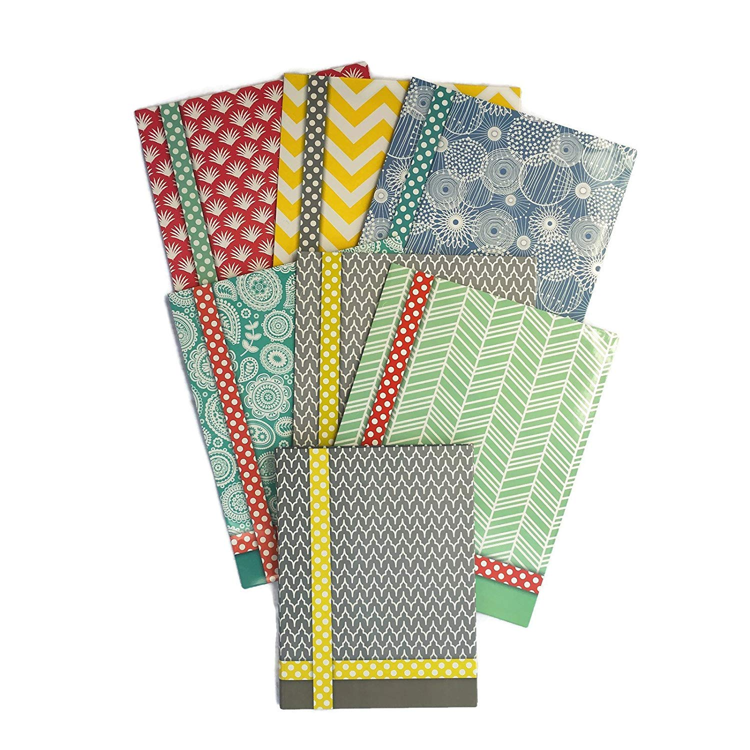 Colorful Pattern Design Belle School Supply Bundle: 7 Items: Seven Assorted Belle School Subject Folders, Plus One Matching Hardcover College Ruled Composition Notebook