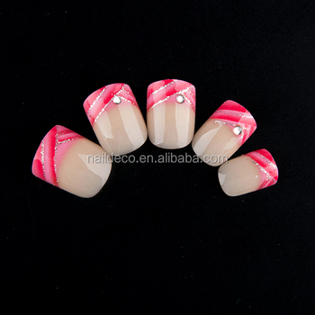 Nadeco 24pcs New Glitter French Manicure Nail Design Wholesale Rose