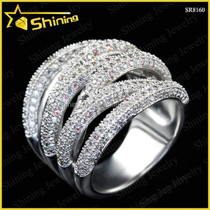 SR8160 new design multi strand woven band fashion ring cz iced out S925 micro pave ring