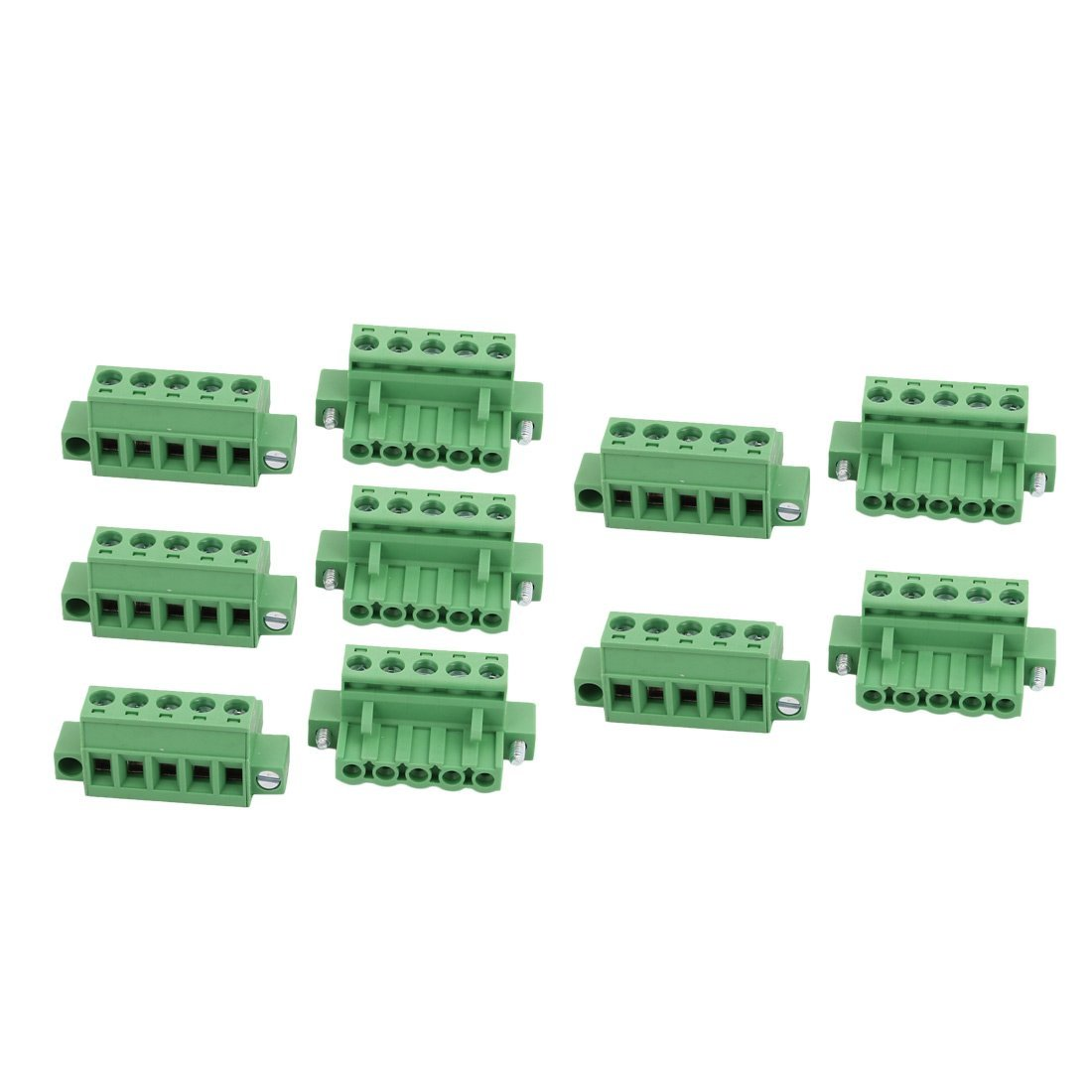 uxcell 10Pcs AC 300V 15A 5.08mm Pitch 5P PCB Terminal Block Wire Connection