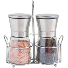 Stainless Steel Spice Grinder Pepper Mill and Salt Mill set of 2 - Adjustable Coarseness to Fine