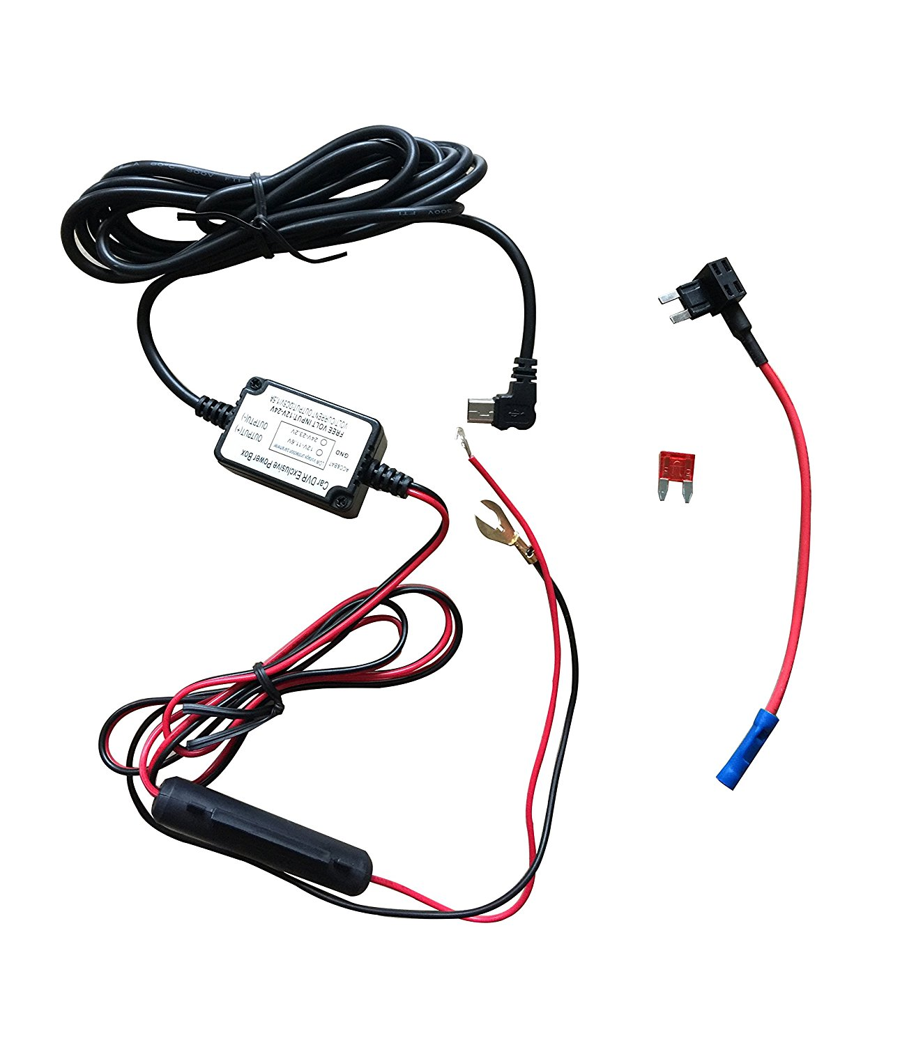get quotations · dash camera hard wire kit- mini usb dash cam 10 foot  hardwire and fuse kit