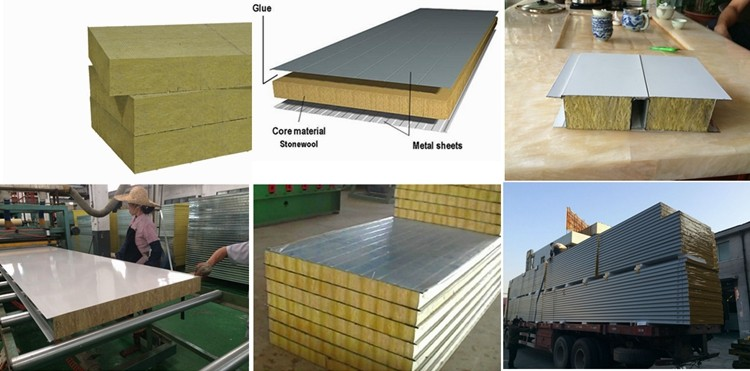 Hight Density Rock Wool Sandwich Wall Panel For Partition Wall
