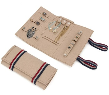 Beige Portable Felt Jewelry Roll Travel Jewelry Storage Bag for Holding Earring,Necklaces, Bracelets, Rings