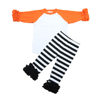 Wholesale 2016 orange white icing raglan shirts with black strip icing pants Halloween fashion kids clothes