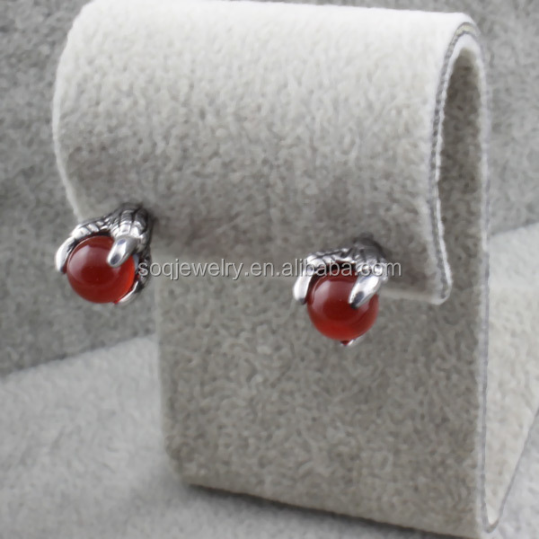 ES-020 Wholesale 316I Stainless Steel CZ Unique Earrings with Punk Style Hands Stone Jewelry