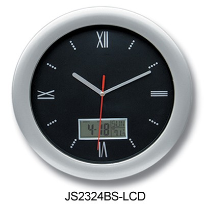 analog wall clock with date day temperature humidity led